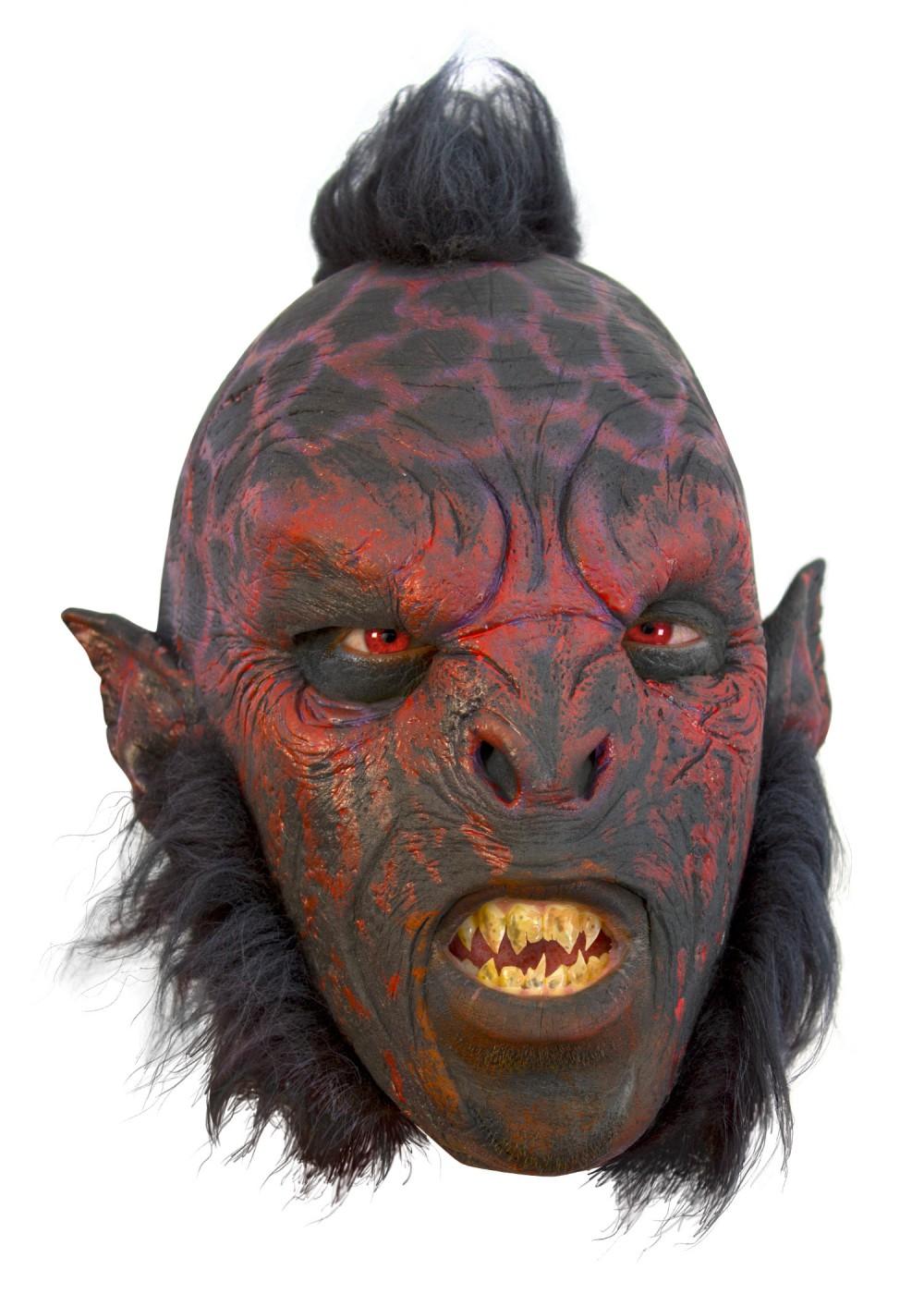 Orc Mask Red With Hair Latexmask Nidingbane